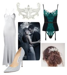 """""""Anastasia Steele // Fifty Shades of Darker"""" by clace99 ❤ liked on Polyvore featuring Coco de Mer, Galvan, Jimmy Choo and Masquerade"""