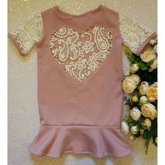 The 'Valentina' lace heart dress in dusky pink by NaidaCrystal
