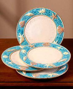 Salad Plate Set Dinnerware Seashell Ocean Beach Coast Starfish Handpainted NEW & Sea-Themed Dinnerware | Sea themed turquoise and blue dishes by 222 ...
