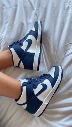 Ootd, High Shoes, Blue Nike, Nike Dunks, Blue Fashion, Kicks, Jordans, Navy, Quotes