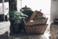 Antique baskets and beautiful reclaimed cutting boards. Rustic essentials that have new life. Georgia Brown Home by BD Antiques. http://www.bdantiques.com/