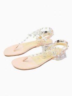 Studded T Bar Flat Sandals
