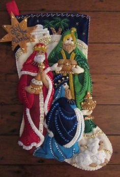 Bucilla Three Kings Completed by MissingSockStitchery on Etsy Christmas Nativity, Felt Christmas, Christmas Crafts, Christmas Decorations, Christmas Ornaments, Holiday Decor, Felt Stocking Kit, Xmax, Xmas Stockings