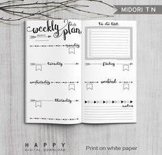Printable Arrows Midori Weekly Planner Inserts, Fauxdori Bullet Journal