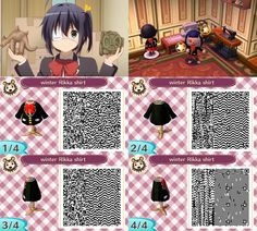 """Animal Crossing: New Leaf Chuunibyou winter cosplay shirt QR code to be worn with """"kilt"""" item"""