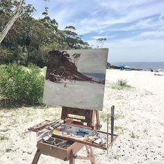 Wish we were here!  Such a perfect day for painting 'en plein air' the Australian beach scene.  #australianpainting #enpleinair #australianbeaches #beach #summervibes #summertime #australiansummer #oilpainting #beachscene #vintageartemporium