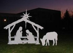 Lifesize nativity in front of church during a beautiful sunset.  The lifesize nativity comes with the donkey.  For the other sizes, he is an option.