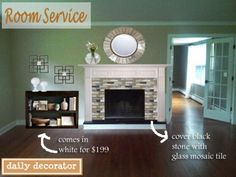 blue mosaic fireplace | also did a mock up of what the fireplace wall can look like if so ...