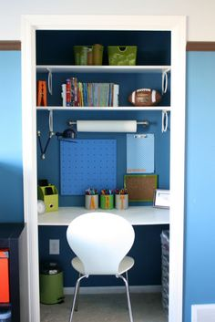 A clothes closet transformed into a just-the-right-size homework station.