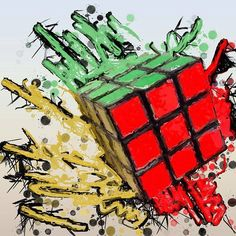 . Rubik's Cube Solve, Rubiks Cube Algorithms, Cube Puzzle, Dope Art, Geek Art, Mosaic Art, Cool Artwork, Graffiti, Art Pieces