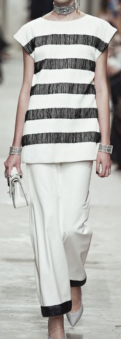 Chanel Pre-Spring 2014 -I still love the classic black adn white....but add a pop of color....royal blue bag or royal blue shoes but not both...just a tad to make someone look