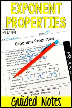 Check out these exponent properties notes that are aligned to the common core standards 8.EE.A.1 Your 8th grade math students and Algebra student will delve into exponent rules and discover the rules through expanding.  These make for quick lesson plans, review, intervention or tutoring.  Click here for more information. #makesenseofmath #eighthgrademath #guidednotes Math Teacher, Math Classroom, Classroom Ideas, Math Lesson Plans, Math Lessons, Algebra Games, Math Games, Equivalent Expressions, Seventh Grade Math