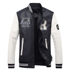 >> Click to Buy << Autumn and Winter Men`s Leather Baseball Jacket Fashion Embroidery Letters Rib Sleeve Stand Collar Coats #Affiliate
