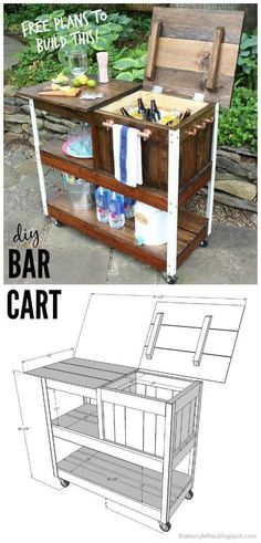 DIY Grill Cart or Bar Cart A DIY tutorial to build an outdoor bar cart complete with free plans. You can serve and store cold drinks outdoors with this portable bar cart. The post DIY Grill Cart or Bar Cart appeared first on Outdoor Ideas. Outdoor Bar Cart, Diy Outdoor Bar, Outdoor Cooler, Outdoor Serving Cart, Outdoor Pallet, Outdoor Decor, Outdoor Living, Diy Bar Cart, Bar Cart Decor