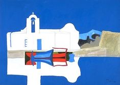 peter yates. Blue Boat Greece Painting, Blue Boat, Painting Gallery, Artist Painting, Seaside, Drawings, Prints, Inspiration, War