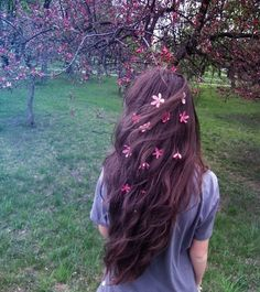 brown hair pink flowers