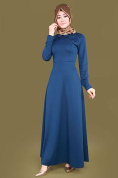 Bebe Yaka Tesettür Elbise LRJ6154 İndigo