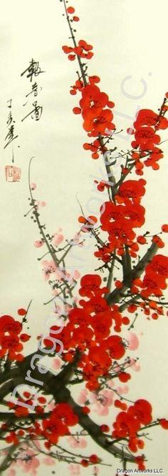 6279-blossoms-chinese-brush-painting-detail.jpg (426×1203)