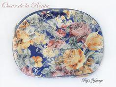 Vintage Oscar de la Renta Cosmetic Bag, Large Floral Make Up Bag, Designer Fashion Accessories by PegsVintageShop on Etsy
