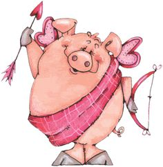 Cupig - Valentine Card Artwork designed by Made by Zazzle Greeting Cards in San Jose, CA This Little Piggy, Little Pigs, Valentine Day Love, Valentines, Pig Crafts, Pig Drawing, Pig Art, Cute Piggies, Flying Pig