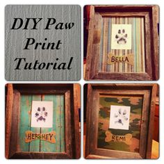 Southern Wag Pet Accessories: Framed Paw Print Tutorial I'm probably going to do this craft with my dog, if she lets me. Dog Crafts, Animal Crafts, Animal Projects, Craft Projects, Cat Dog, Diy Stuffed Animals, Pet Accessories, Dog Accesories, Dog Art