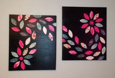 DIY Canvas Wall Art try brown w/ pink, turq, gold, or orange leaves