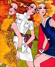 Fashion ad illustration, A. Lopez 1968.