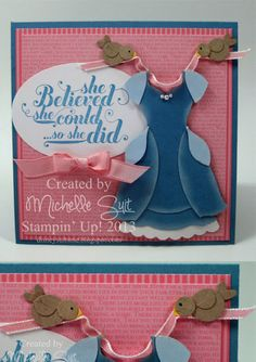 "A magical ""dress up"" card created with Stampin' Up Framelits and Punches.  wow...don't know if i'd ever re-create this...but too cute! (for any of you mothers of girls:)"
