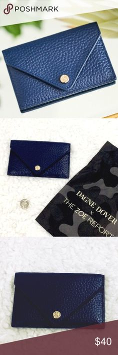 Perfect card holder Navy blue pebbled leather Dagne Dover card case. Made exclusively for Rachel Zoe winter box of style. Brand new. Never used. Price card and care info inside. Came with dust bag (shown in 2nd pic), but the ribbon came out and I can't get it back through. I can include dust bag with tie ribbon if you wish. This is a quality card holder❤️ I would keep if I didn't already have one I always use. Priced to sell Dagne Dover Accessories Key & Card Holders