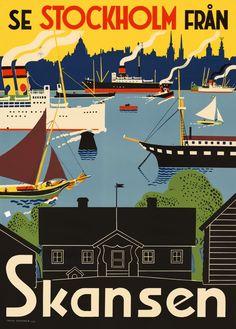 """Affisch Come to Sweden """"Skansen"""" 50x70 cm"""