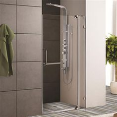 VIGO Pirouette 36 to 42 in. x 72 in. Frameless Pivot Shower Door in Brushed Nickel with Clear Glass and - The Home Depot Vigo Shower Doors, Shower Sliding Glass Door, Bathtub Doors, Frameless Shower Doors, Bathtub Shower, Walk In Shower, Shower Enclosure, Shower Faucet, Home Depot