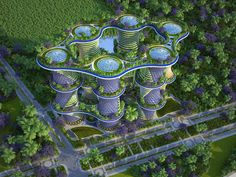 Image 12 of 29 from gallery of Vincent Callebaut's Hyperions Eco-Neighborhood Produces Energy in India. Photograph by Vincent Callebaut Architectures Green Architecture, Futuristic Architecture, Architecture Collage, Architecture Design, Vincent Callebaut, Ecosystems Projects, Vertical City, Dome Greenhouse, Urban Nature