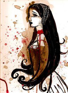 "Anne Boleyn ""Artsy"" Adaptation also would make a fine tattoo, just saying. Anne Boleyn Artsy Adaptation also would make a fine tattoo, just saying. Asian History, History Photos, British History, Art History, History Facts, Historical Women, Historical Photos, Wives Of Henry Viii, Black History Quotes"