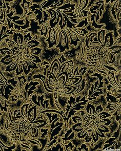 Grandeur 3 collection by Robert Kaufman Fabrics - Flowery Essence - Black/Gold from eQuilter