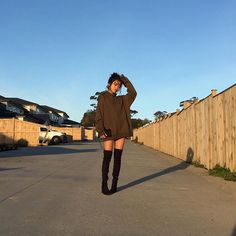 """1,158 Likes, 2 Comments - @shop.kozy on Instagram: """" @itsseryna in our Oversized Fleece Hoodie and Knee High Heel Boots! All orders over 75$ receive…"""""""