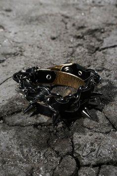 Spikes & Chain Punk Leather Bracelet 8WP $19.99http://www.virginblak.com/accessories/8wp.html