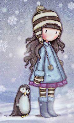 My little penguin friend Illustration Mignonne, Cute Illustration, Little Doll, Little Girls, Cute Images, Cute Pictures, Art Fantaisiste, Art Mignon, Ideias Diy