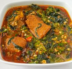 Okro soup, Okra soup, Lady's finger or gumbo, this soup by any name will taste mouthwateringly delicious. It is mucilaginous (slimy in a good way), cheap and is cooked across the length and b… Fried Plantain Recipe, Plantain Recipes, Okra Recipes, Soup Recipes, Gumbo Recipes, Oxtail Recipes, Cooking Recipes, Cooking Games, Nigerian Soup Recipe