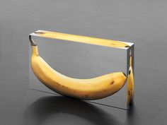Urs Fischer. THEODOR / BERNICE /MAUREEN (banana clutch). 2013. Silkscreen print on mirror-glass, UV-adhesive, aluminum, glass, polyacetal, screws - healthy eating inspiration for GLOWLIKEAMOFO.com
