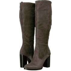 Frye Claude Tall (Smoke Oiled Suede) Women's Boots (20.565 RUB) ❤ liked on Polyvore featuring shoes, boots, knee-high boots, chunky platform boots, frye boots, over-knee boots and tall knee high boots