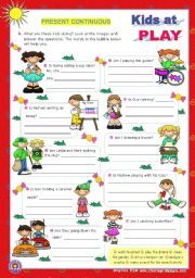 English worksheet: Kids at play - Present Continuous - Yes/No Questions