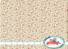 RUST & CREAM CALICO FLORAL FABRIC by the YARD, FAT QUARTER, OR HALF YARD - You Choose - VINTAGE STYLE FLORAL Fabric - Premium Quilting Fabric and
