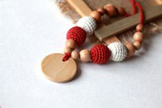 Red and White Crochet Linen Breastfeeding Necklace- Crochet Nursing Necklace-Teething Necklace with Pendant-Necklace for Mom and Baby