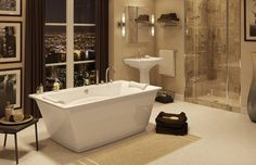 OPTIK F Freestanding bathtub - MAAX Collection Here's our tub which is in the living room!