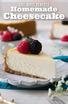 A rich, creamy, PERFECT Cheesecake Recipe! Oh, and there's NO water bath required! You'll want to try this one! #cheesecake #cheesecakerecipe via @sugarspunrun