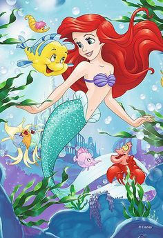 Ariel, Flounder and Sebastian in under the sea Disney Pixar, Walt Disney Characters, Arte Disney, Disney Cartoons, Disney Art, Ariel Mermaid, Mermaid Disney, Ariel The Little Mermaid, Mermaid Art
