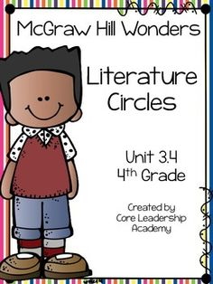Thinkmark Literature Circle graphic organizer ~ Unit 3.4~There are 4 different levels approaching, on, ell, and advance!  Great for literacy centers! Enjoy!