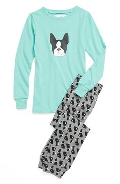 Aegean Apparel 'Boston Terrier' Two-Piece Fitted Pajamas (Big Girls) available at #Nordstrom