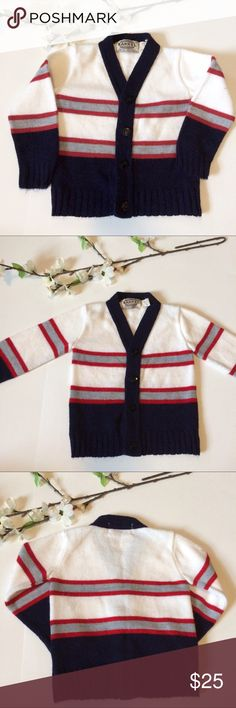 "UNISEX Vintage kid's cardigan sweater 🍁fall🍂 Extremely cute vintage Barrel Brand v-neck cardigan. I love the navy, white, crimson and gray color scheme and the cute preppy cut. Great for a boy or a girl and perfect for fall.   Measurements: Chest: 22"" Length:13.5""  Excellent vintage condition!  *this is a vintage item. I strive to identify and present any and all defects for you to make an informed decision. However, a defect may occasionally slip past my careful inspection. Please keep…"