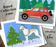 Saluki Dog Christmas Cards from the Breed Collection - Digital Download
